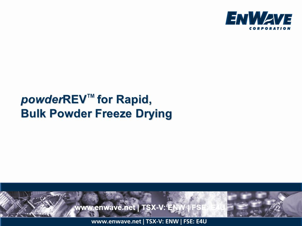 powderREVTM for Rapid, Bulk Powder Freeze Drying