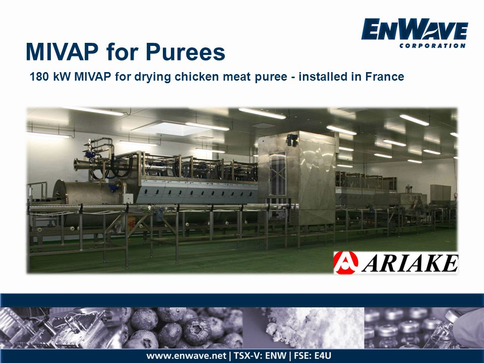 MIVAP for Purees 180 kW MIVAP for drying chicken meat puree - installed in France