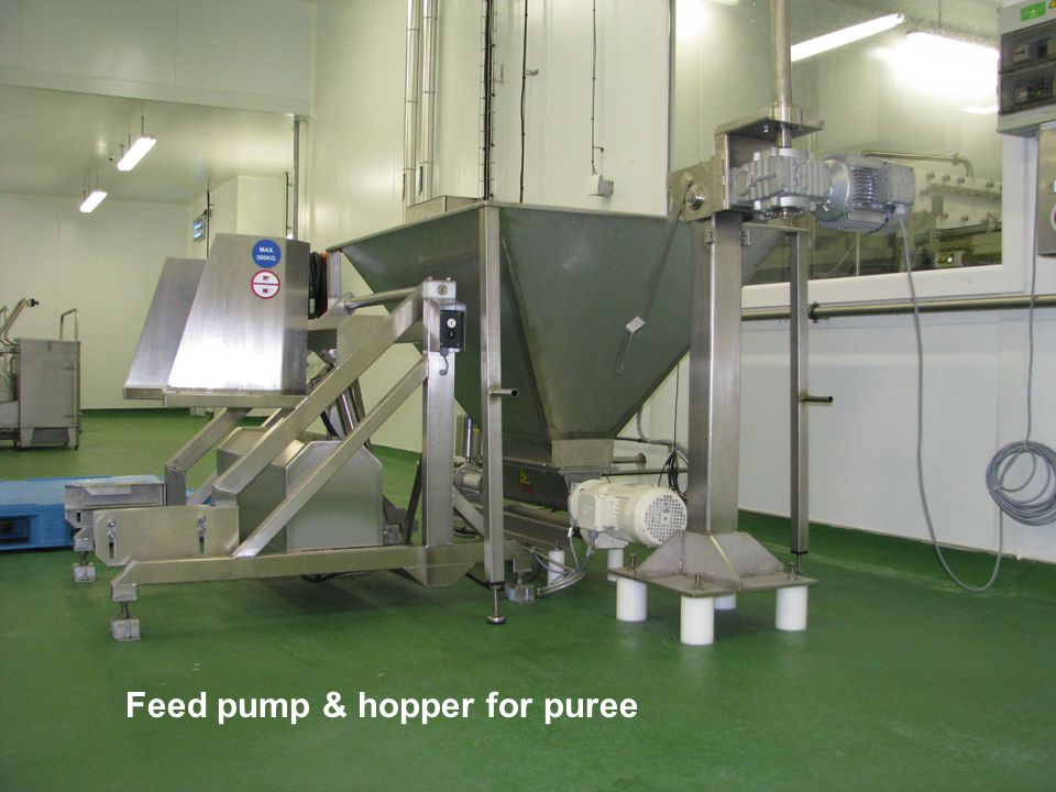 Feed pump & hopper for puree