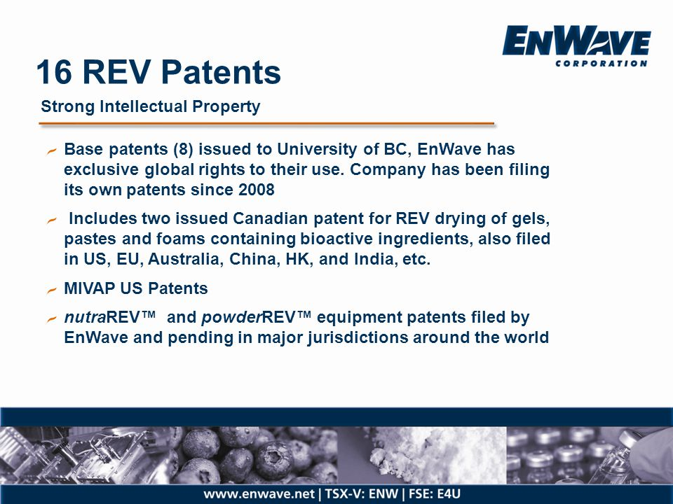 16 REV Patents Strong Intellectual Property