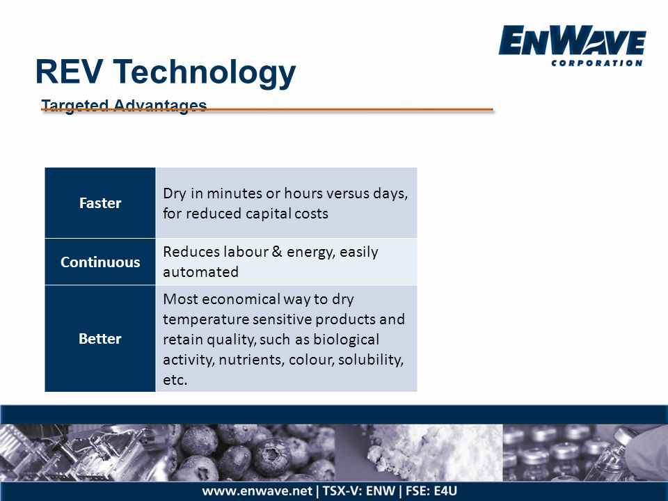 REV Technology Targeted Advantages. Faster. Dry in minutes or hours versus days, for reduced capital costs.