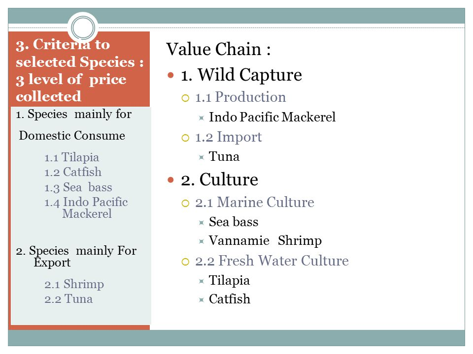 3. Criteria to selected Species : 3 level of price collected