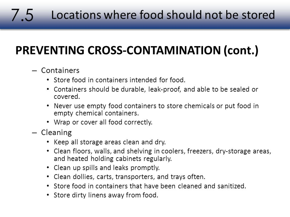 Locations where food should not be stored