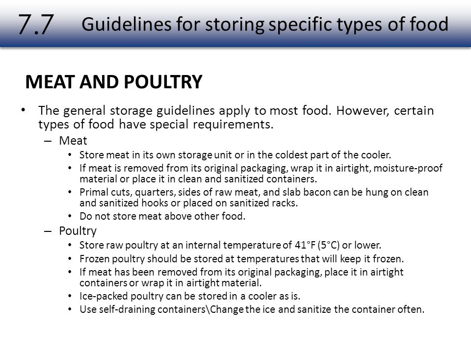 Guidelines for storing specific types of food
