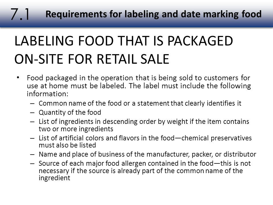 Requirements for labeling and date marking food