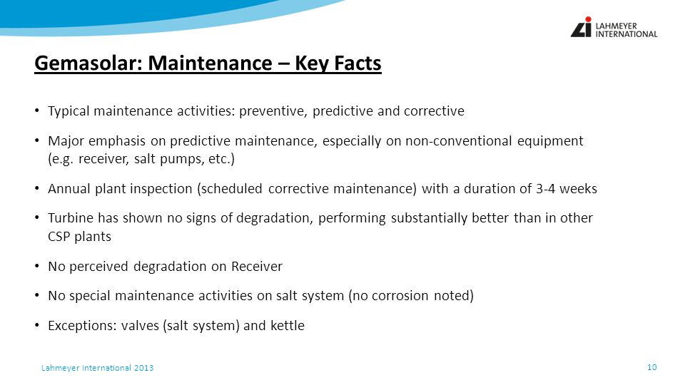 Gemasolar: Maintenance – Key Facts