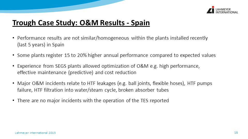 Trough Case Study: O&M Results - Spain