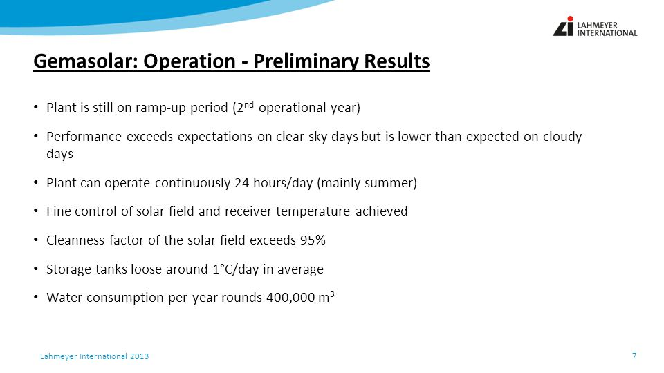Gemasolar: Operation - Preliminary Results