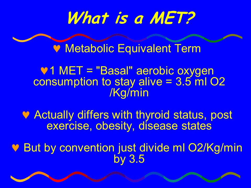 What is a MET Metabolic Equivalent Term