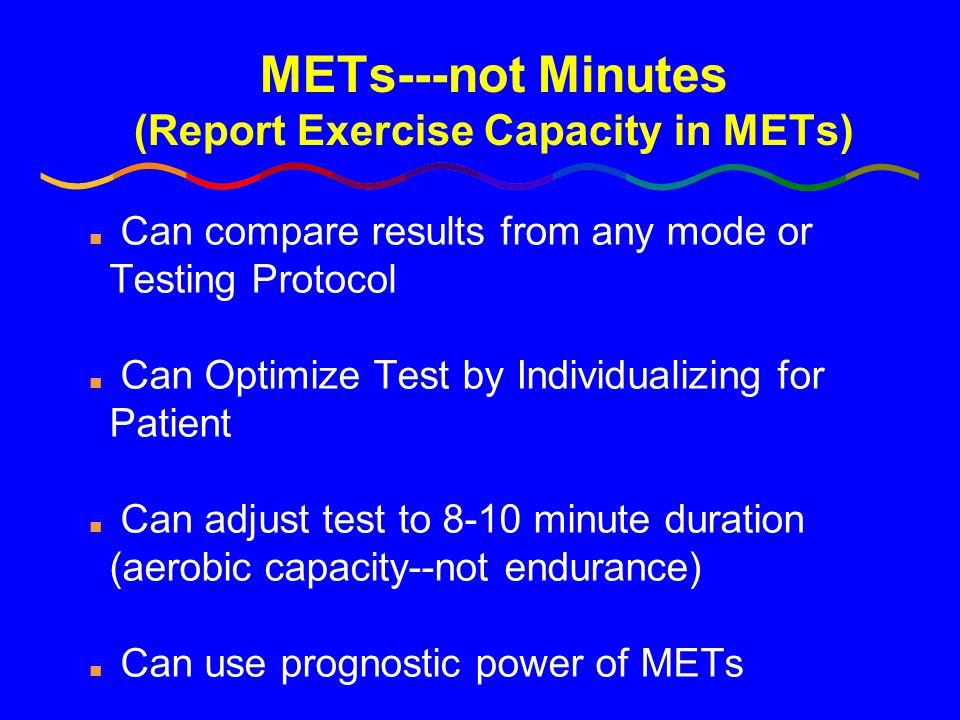 METs---not Minutes (Report Exercise Capacity in METs)