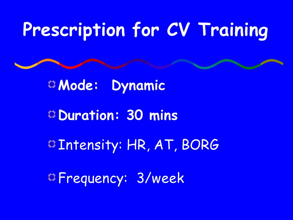 Prescription for CV Training