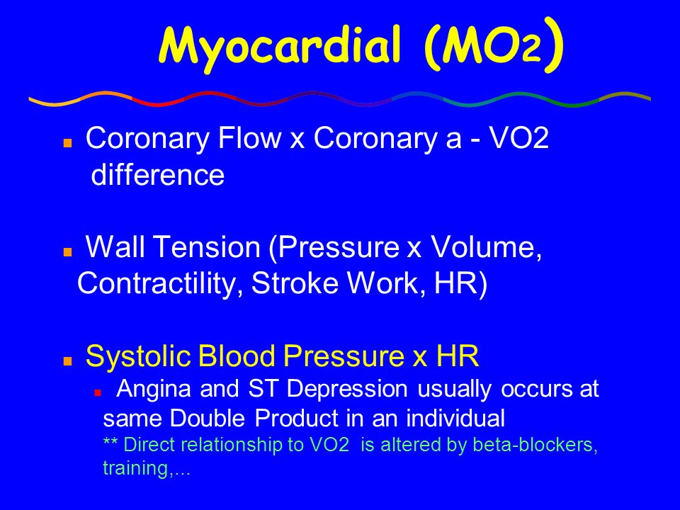 Myocardial (MO2) Coronary Flow x Coronary a - VO2 difference