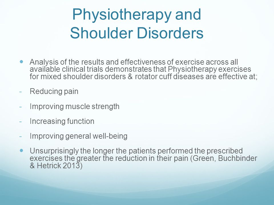 Physiotherapy and Shoulder Disorders
