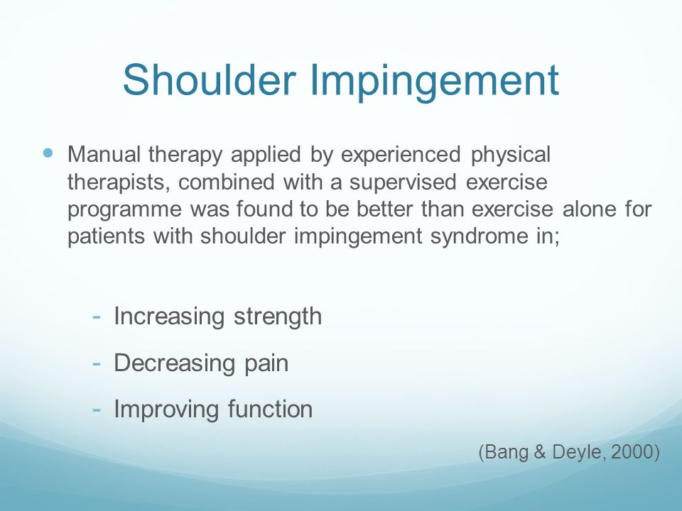 Shoulder Impingement Increasing strength Decreasing pain