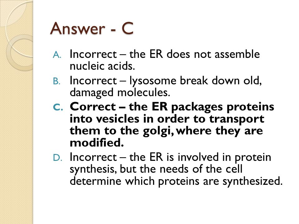 Answer - C Incorrect – the ER does not assemble nucleic acids.
