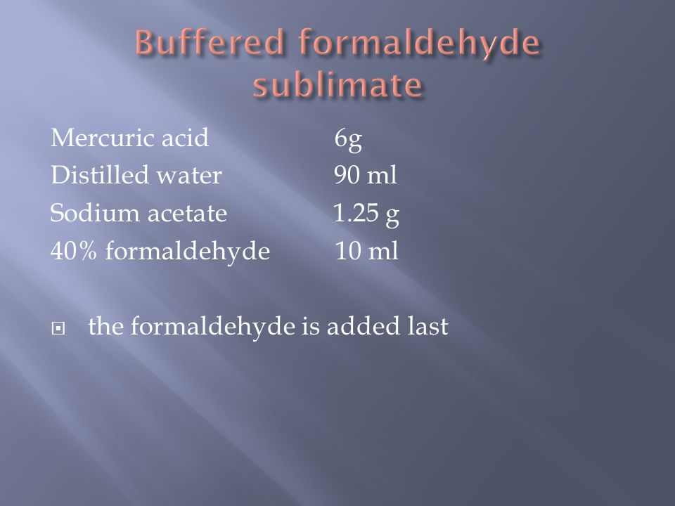 Buffered formaldehyde sublimate