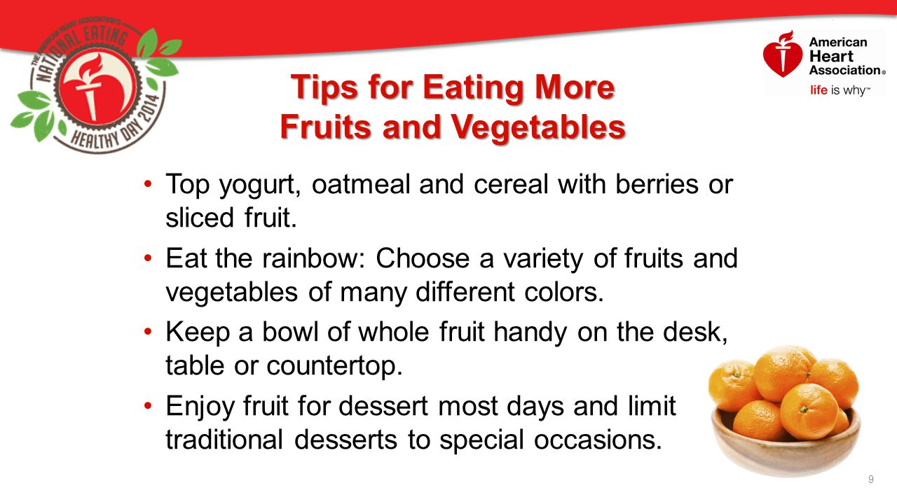 Tips for Eating More Fruits and Vegetables