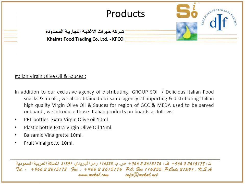 Products Italian Virgin Olive Oil & Sauces :
