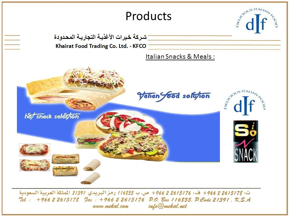 Products Italian Snacks & Meals :