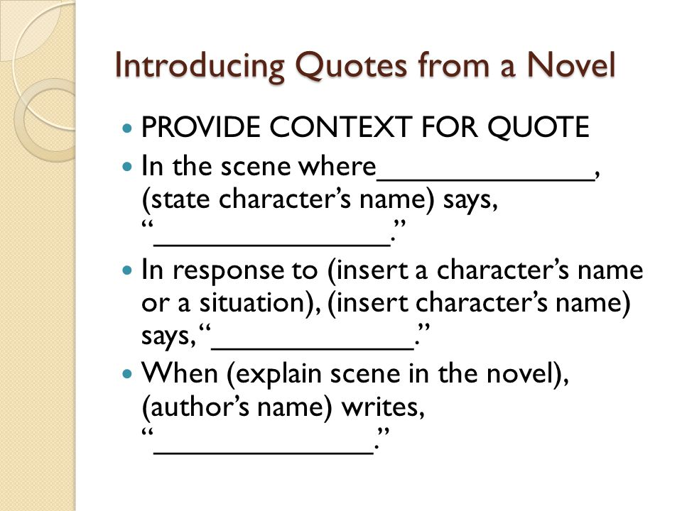 Introducing Quotes from a Novel