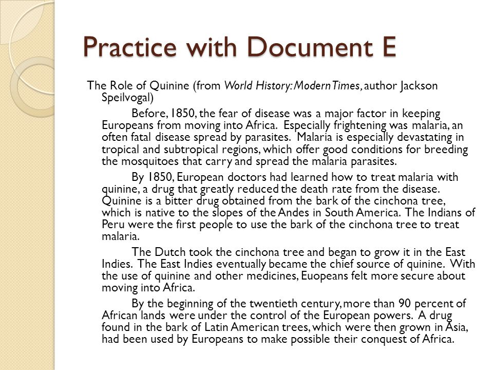 Practice with Document E