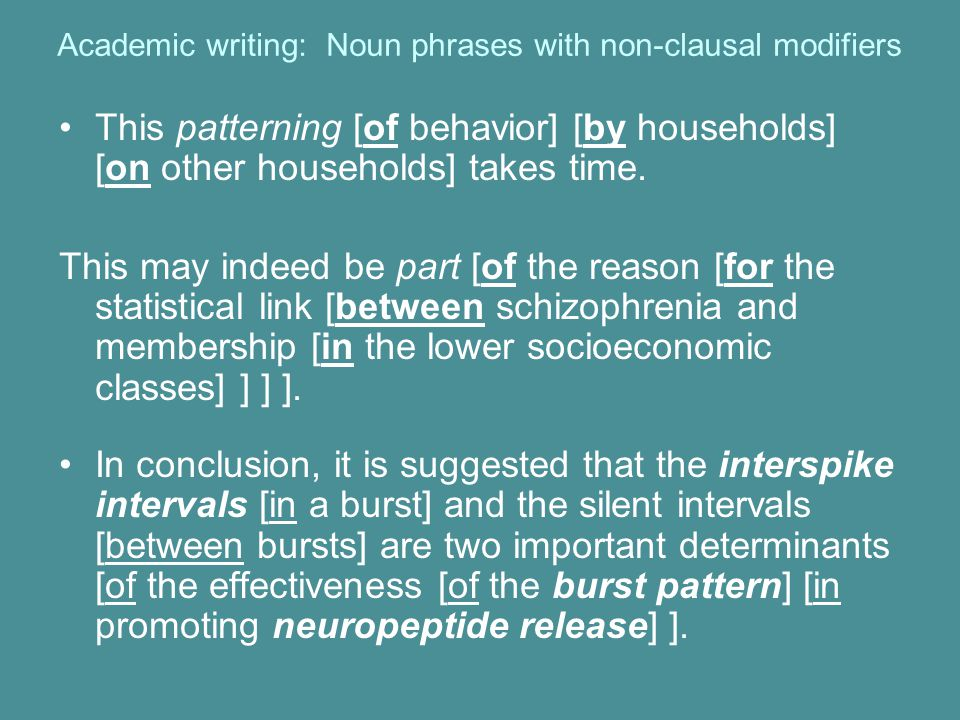 Academic writing: Noun phrases with non-clausal modifiers