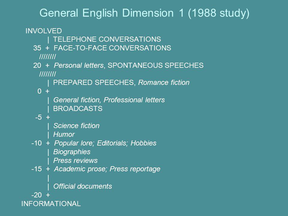 General English Dimension 1 (1988 study)