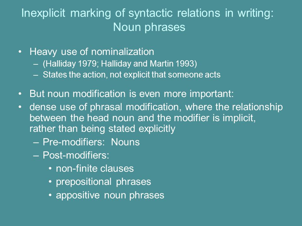 Inexplicit marking of syntactic relations in writing: Noun phrases