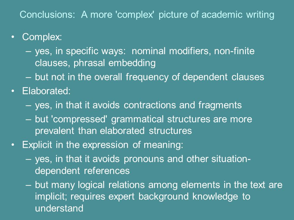 Conclusions: A more complex picture of academic writing