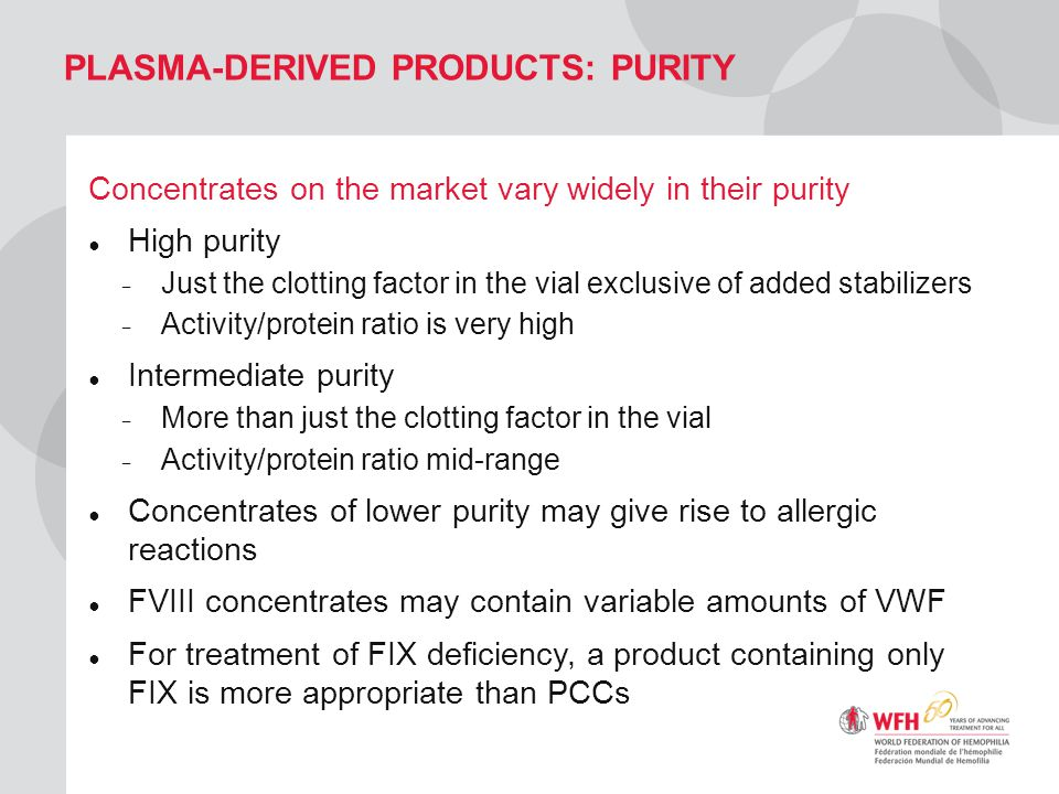 Plasma-derived products: purity