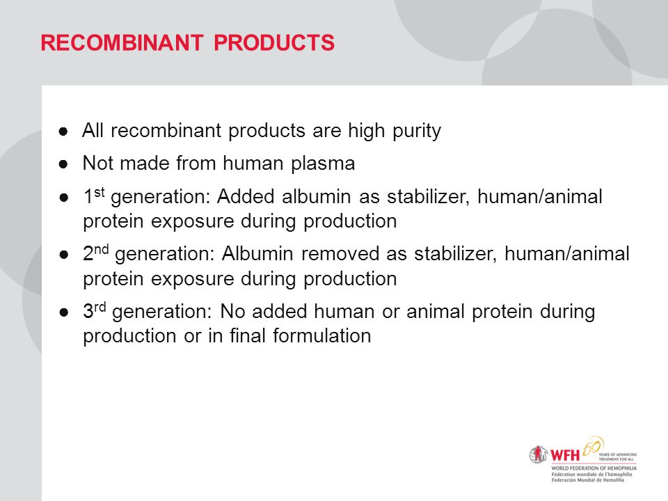 Recombinant Products All recombinant products are high purity