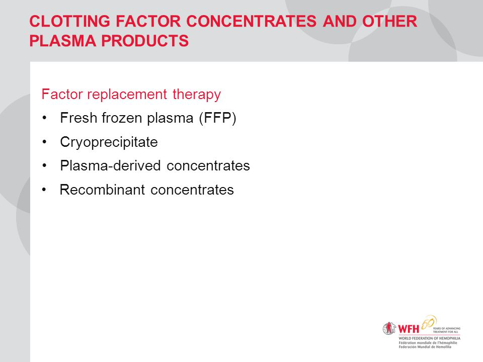 CLOTTING FACTOR CONCENTRATES AND OTHER PLASMA PRODUCTS