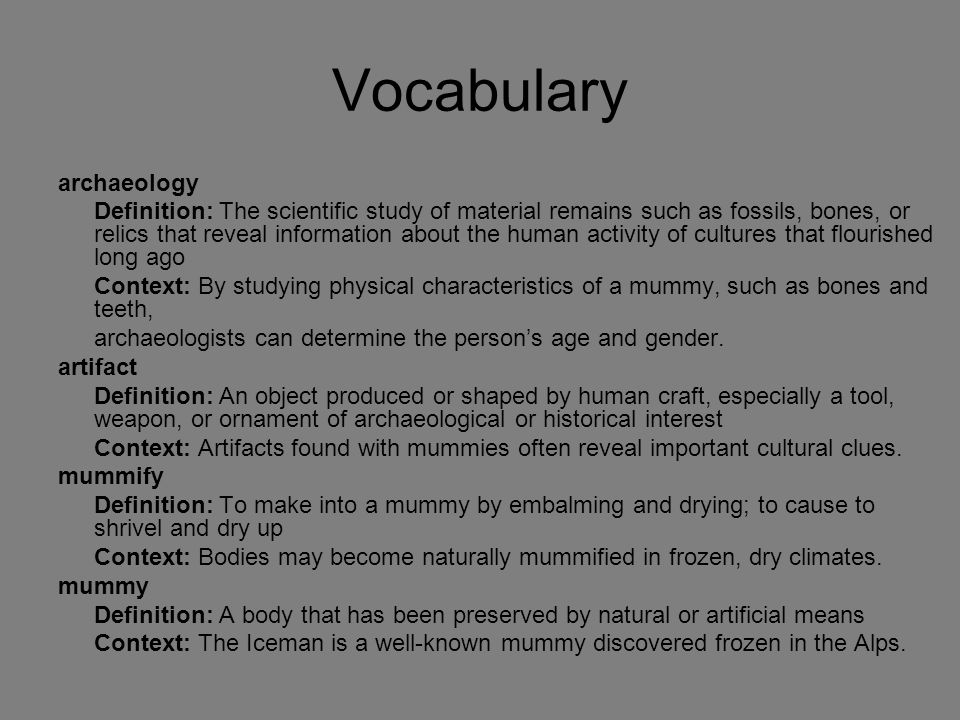 Vocabulary archaeology