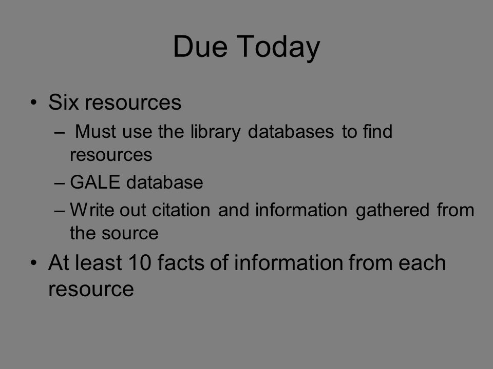 Due Today Six resources