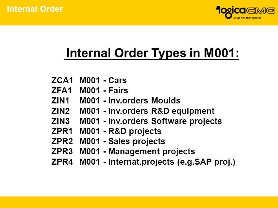 Internal Order Types in M001: