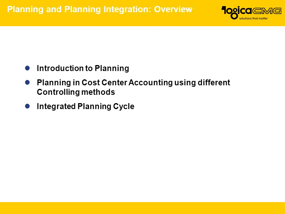 Planning and Planning Integration: Overview