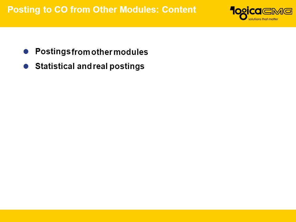 Posting to CO from Other Modules: Content