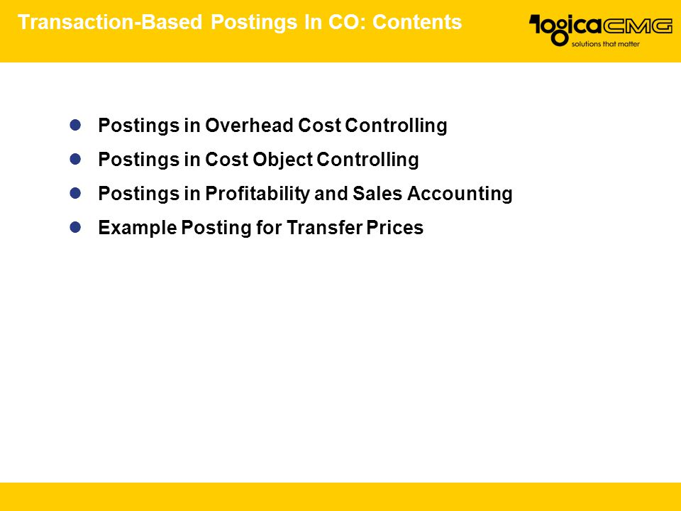 Transaction-Based Postings In CO: Contents