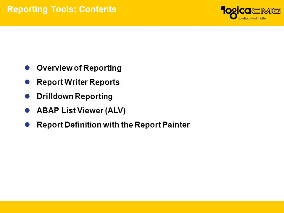 Reporting Tools: Contents