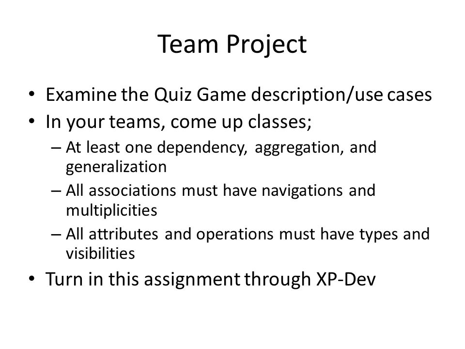 Team Project Examine the Quiz Game description/use cases