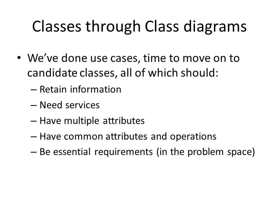 Classes through Class diagrams