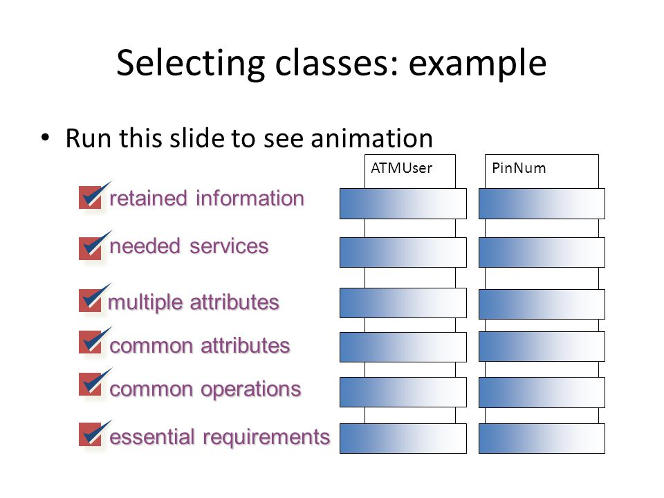 Selecting classes: example