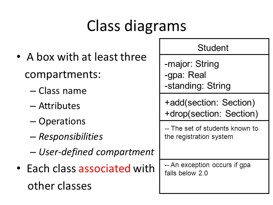 Class diagrams A box with at least three compartments: