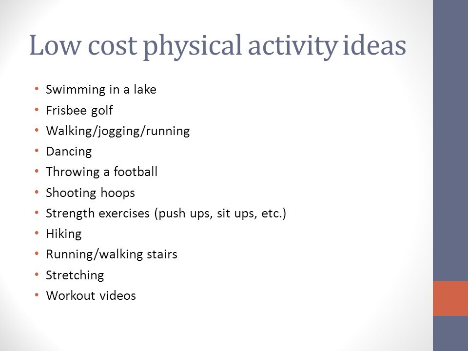 Low cost physical activity ideas
