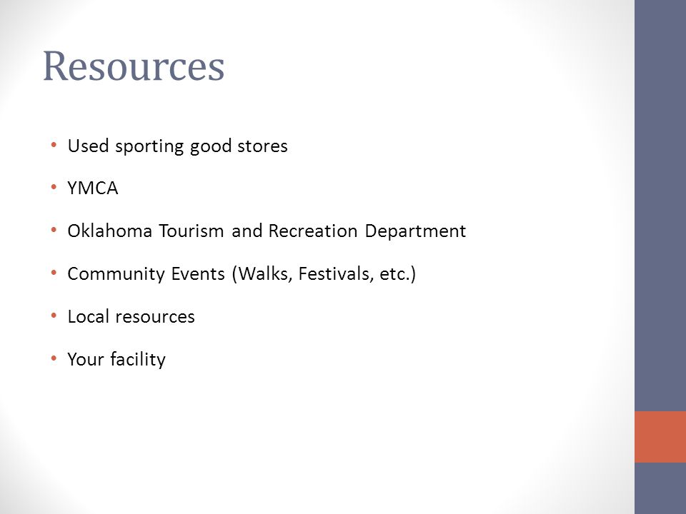 Resources Used sporting good stores YMCA