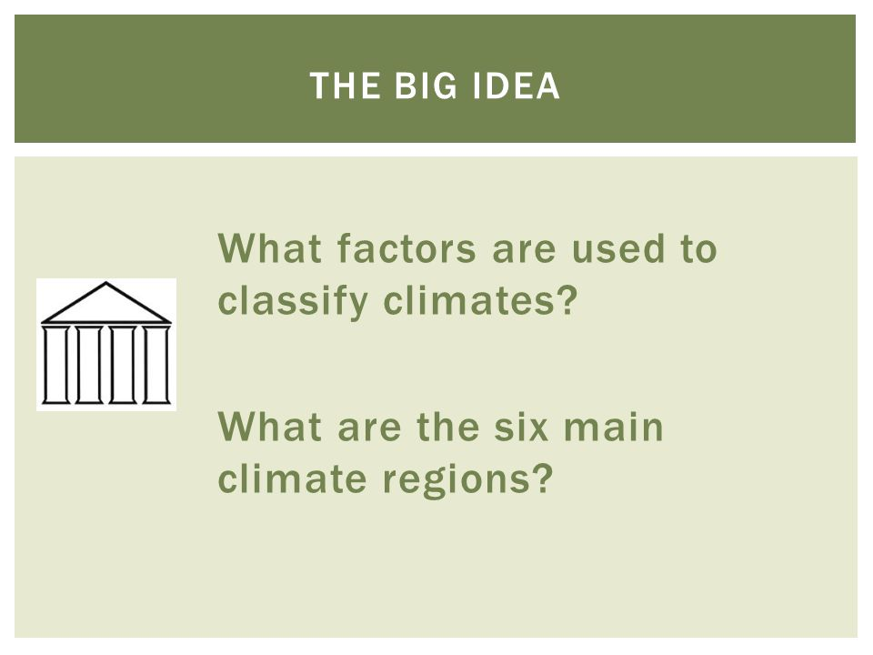 The big idea What factors are used to classify climates What are the six main climate regions