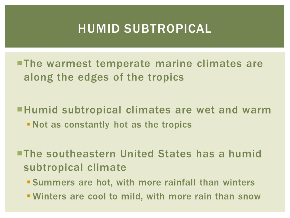 Humid subtropical The warmest temperate marine climates are along the edges of the tropics. Humid subtropical climates are wet and warm.