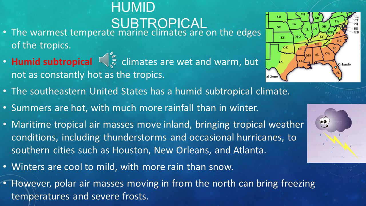 Humid Subtropical The warmest temperate marine climates are on the edges of the tropics.
