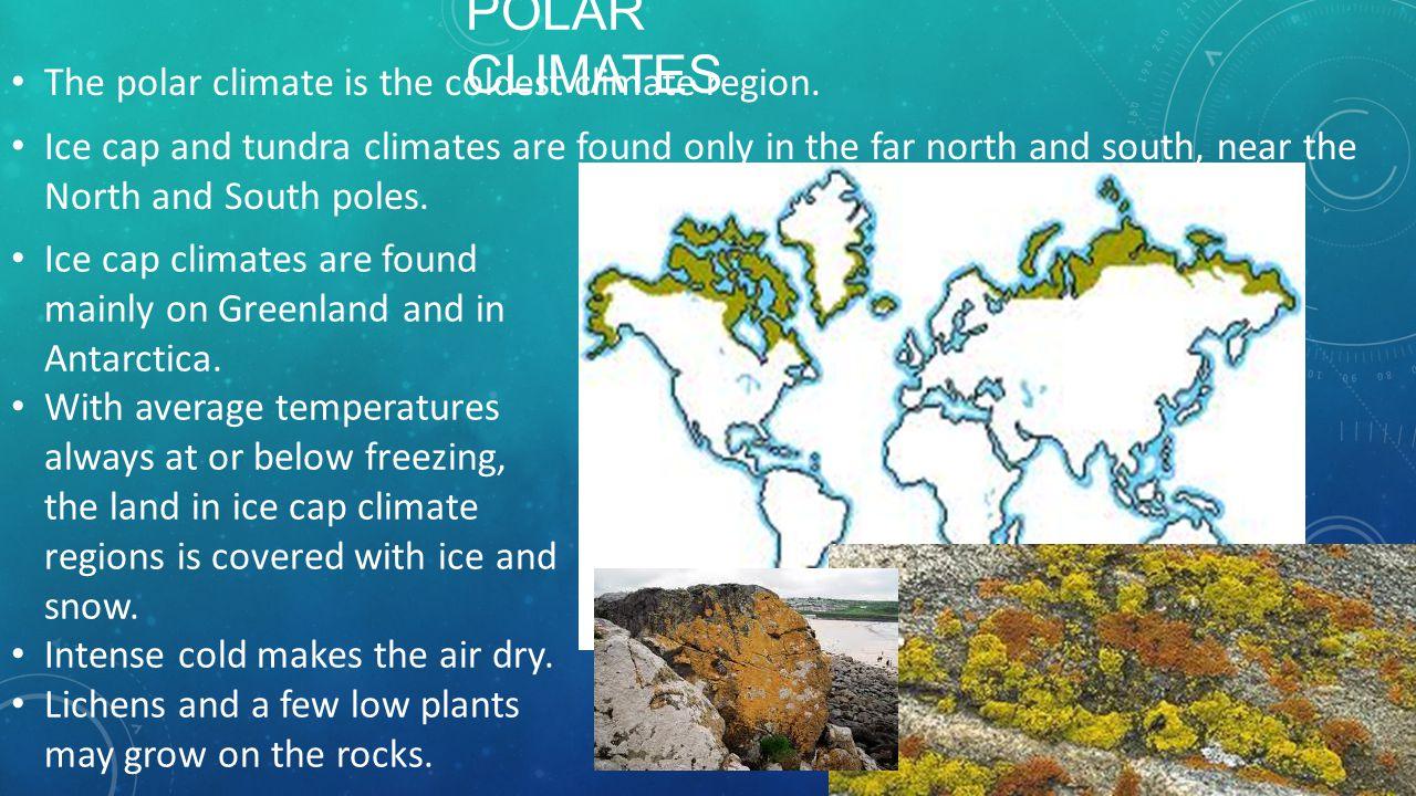 Polar Climates The polar climate is the coldest climate region.
