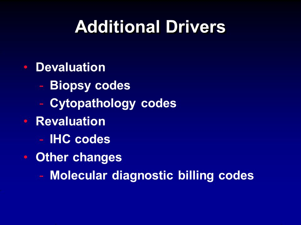 Additional Drivers Devaluation Biopsy codes Cytopathology codes